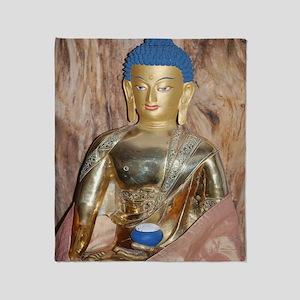 Blue haired buddha Throw Blanket