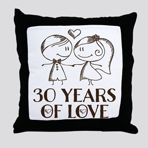 30th Anniversary chalk couple Throw Pillow