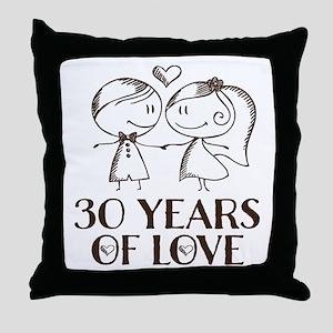 30th Anniversary Chalk Throw Pillow