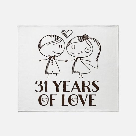 31st Anniversary chalk couple Throw Blanket