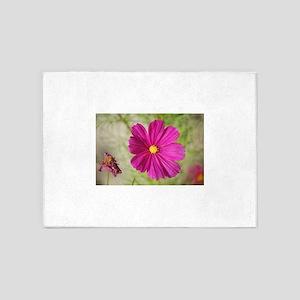 Sunlit pink flower 5'x7'Area Rug