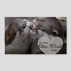 You Mean Otter World To Me Otters Kissing Area Rug