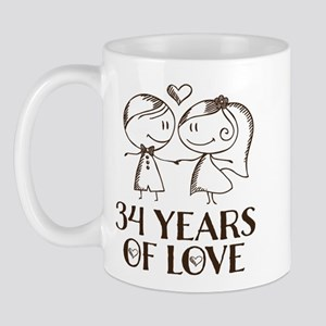 34th Anniversary chalk couple Mug