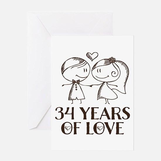 34th Anniversary chalk couple Greeting Card