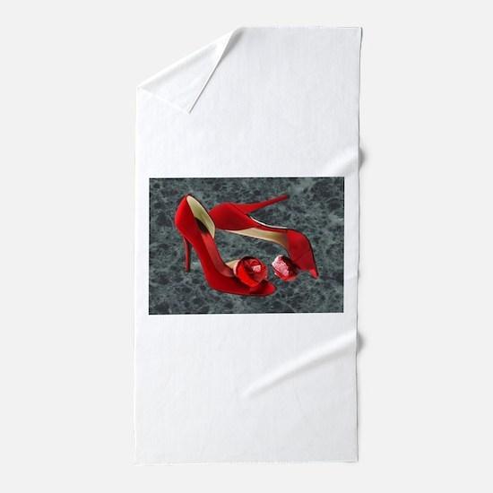Rock Me Red Pom Poms Beach Towel