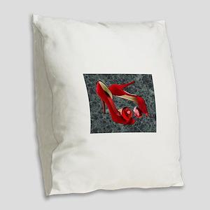 Rock Me Red Pom Poms Burlap Throw Pillow