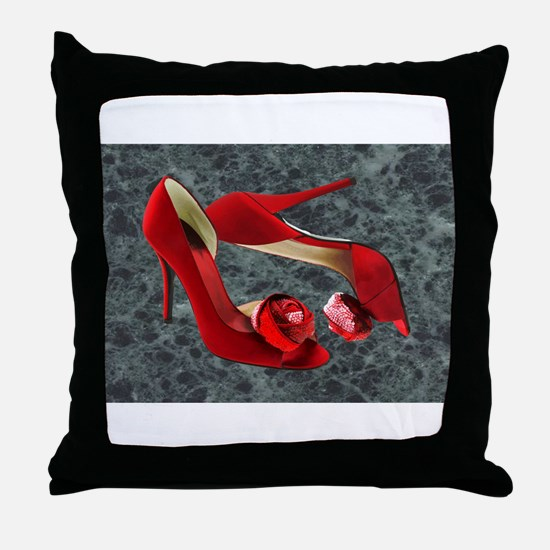 Rock Me Red Pom Poms Throw Pillow