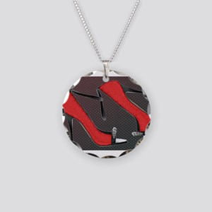 Raging Red Open Toed Stilett Necklace Circle Charm
