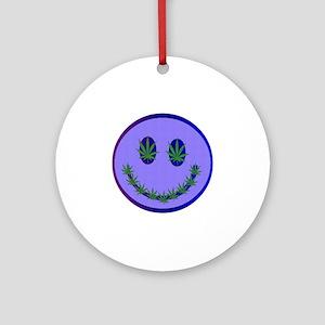 Marijuana Happy Face Round Ornament