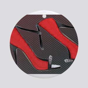 Raging Red Open Toed Stilettos Ornament (Round)