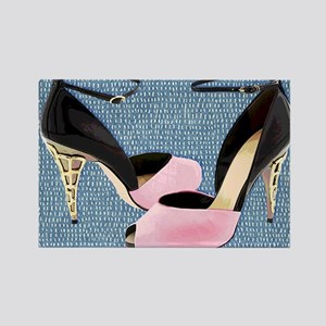 Patent Leather with Sculpted Metal Heels Magnets