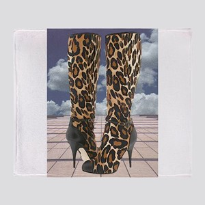 Leopard Boots with Ankle Straps Throw Blanket