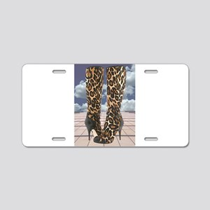 Leopard Boots with Ankle St Aluminum License Plate