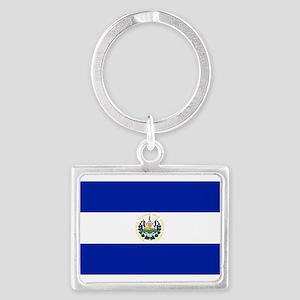 El Salvador flag Landscape Keychain