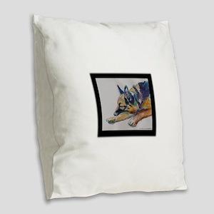 Sleeping Shepherd Burlap Throw Pillow