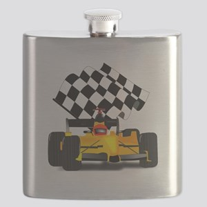 Yellow Race Car with Checkered Flag Flask