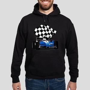 Blue Race Car with Checkered Flag  Hoodie (dark)