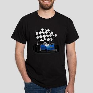 Blue Race Car with Checkered Flag  Dark T-Shirt