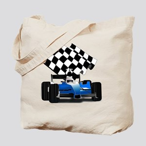 Blue Race Car with Checkered Flag  Tote Bag