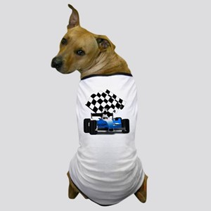 Blue Race Car with Checkered Flag  Dog T-Shirt