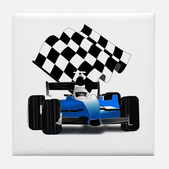 Blue Race Car with Checkered Flag Tile Coaster