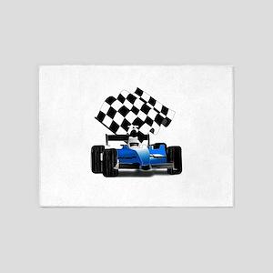 Blue Race Car with Checkered Flag 5'x7'Area Rug