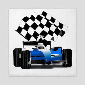 Blue Race Car with Checkered Flag Queen Duvet