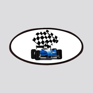 Blue Race Car with Checkered Flag Patches
