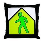 Alien Crossing Throw Pillow
