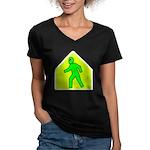 Alien Crossing Women's V-Neck Dark T-Shirt