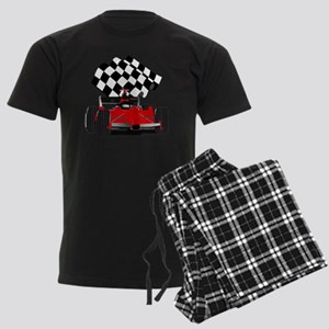 Red Race Car with Checkered Fl Men's Dark Pajamas