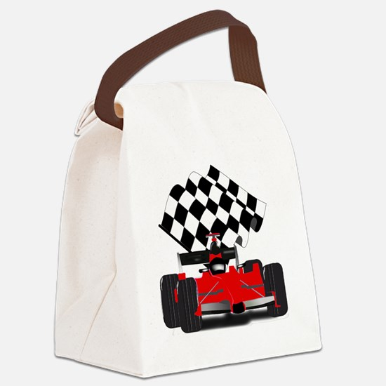 Red Race Car with Checkered Flag Canvas Lunch Bag