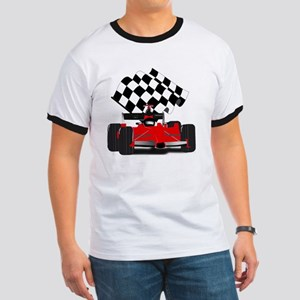 Red Race Car with Checkered Flag Ringer T