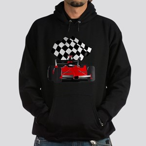 Red Race Car with Checkered Flag Hoodie (dark)