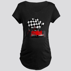 Red Race Car with Checkered Maternity Dark T-Shirt