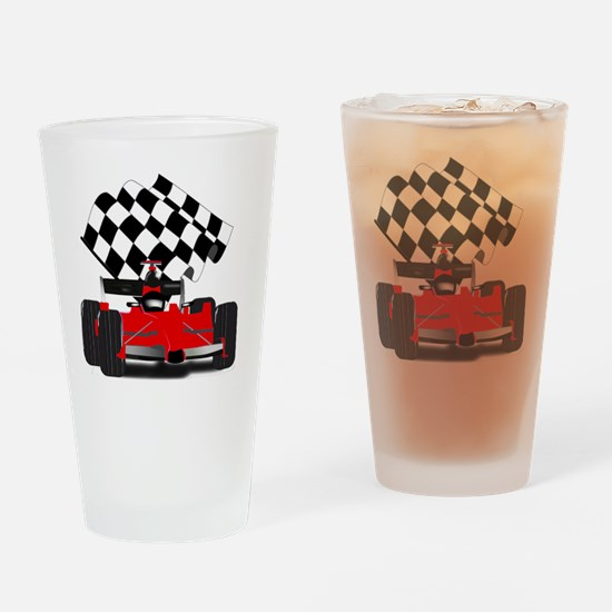 Red Race Car with Checkered Flag Drinking Glass