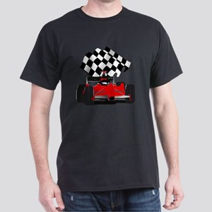Red Race Car with Checkered Flag Dark T-Shirt