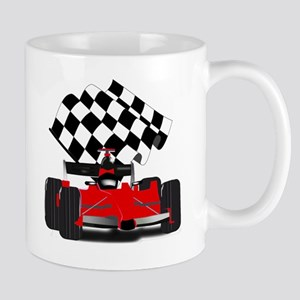 Red Race Car with Checkered Flag Mug