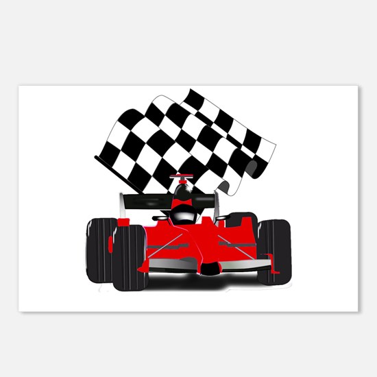 Red Race Car with Checker Postcards (Package of 8)