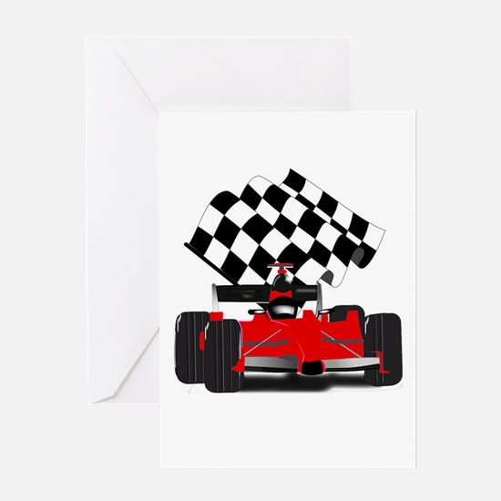 Red Race Car with Checkered Flag Greeting Cards