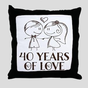 40th Anniversary chalk couple Throw Pillow