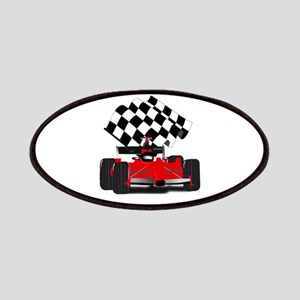Red Race Car with Checkered Flag Patches