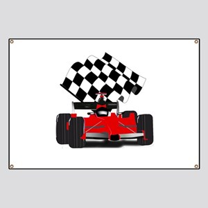 Red Race Car with Checkered Flag Banner