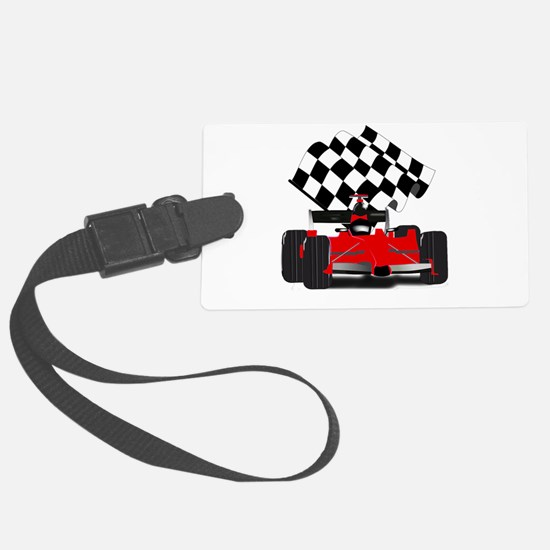 Red Race Car with Checkered Flag Luggage Tag