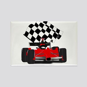 Red Race Car with Checkered Flag Magnets