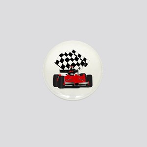 Red Race Car with Checkered Flag Mini Button