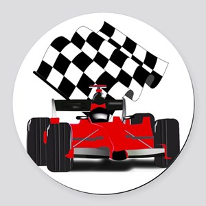 Red Race Car with Checkered Flag Round Car Magnet