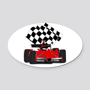 Red Race Car with Checkered Flag Oval Car Magnet