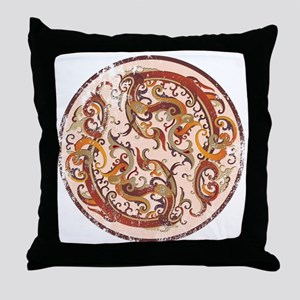 Painted Chinese Dragons Throw Pillow