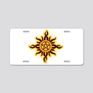 Sun Fire Pentacle Aluminum License Plate